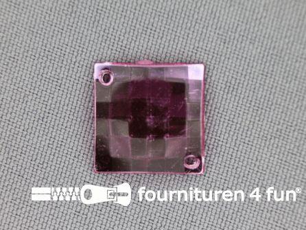 10 stuks Strass stenen vierkant 16mm licht roze