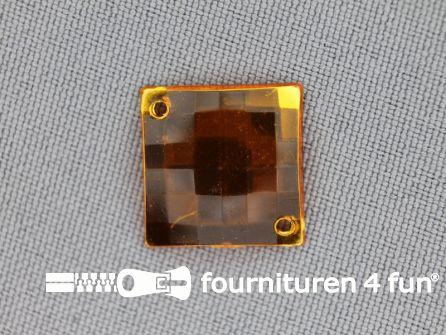 10 stuks Strass stenen vierkant 16mm goud geel