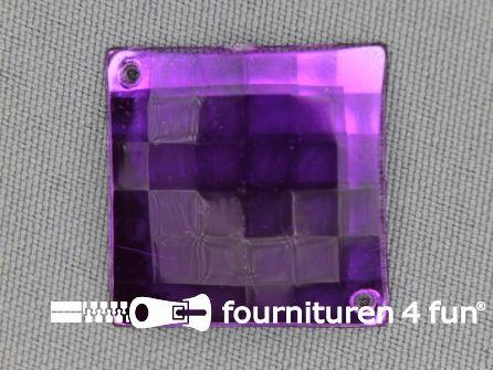 5 stuks Strass stenen vierkant 25mm paars