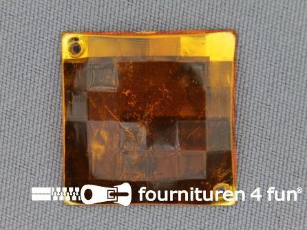 5 stuks Strass stenen vierkant 25mm goud geel