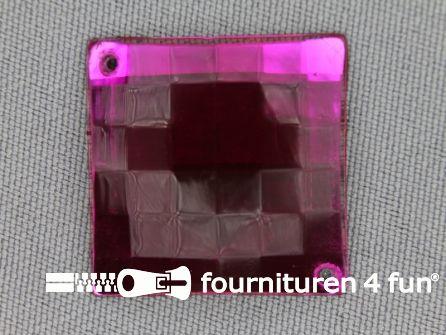 5 stuks Strass stenen vierkant 25mm fuchsia roze