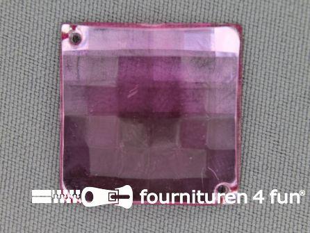 5 stuks Strass stenen vierkant 25mm licht roze