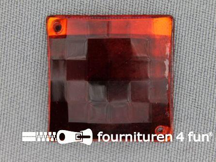 5 stuks Strass stenen vierkant 25mm rood