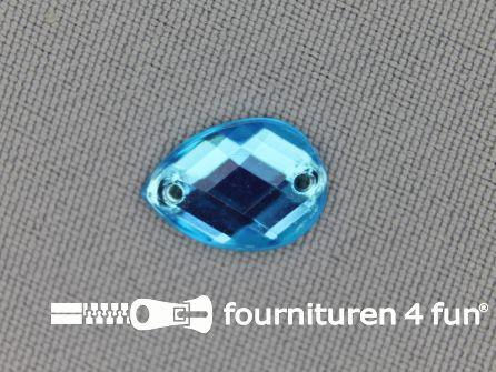 10 stuks Strass stenen druppel 10x14mm aqua blauw
