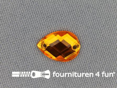 10 stuks Strass stenen druppel 10x14mm goud geel / oranje