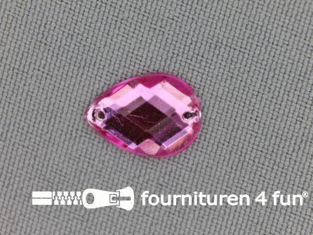 10 stuks Strass stenen druppel 10x14mm licht roze