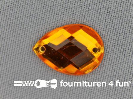10 stuks Strass stenen druppel 14x18mm goud geel
