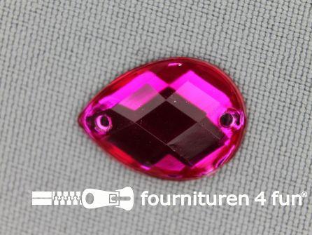 10 stuks Strass stenen druppel 14x18mm fuchsia roze