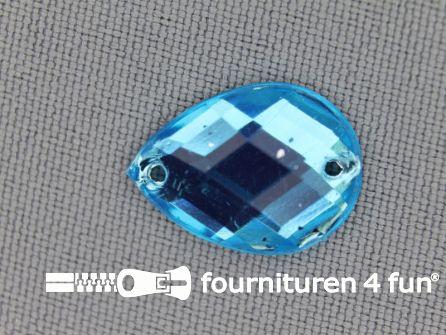10 stuks Strass stenen druppel 14x18mm aqua blauw