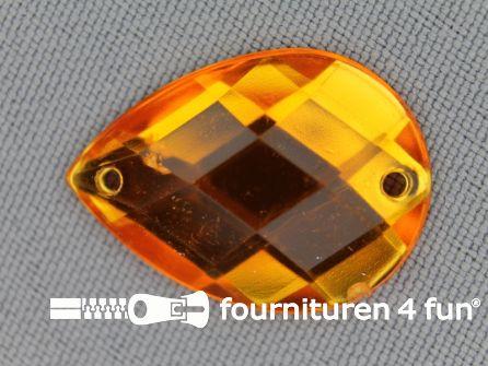 10 stuks Strass stenen druppel 18x25mm goud geel