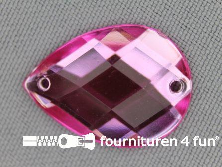 10 stuks Strass stenen druppel 18x25mm licht roze
