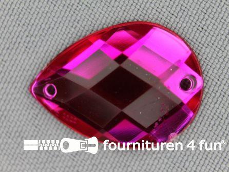 10 stuks Strass stenen druppel 18x25mm fuchsia roze