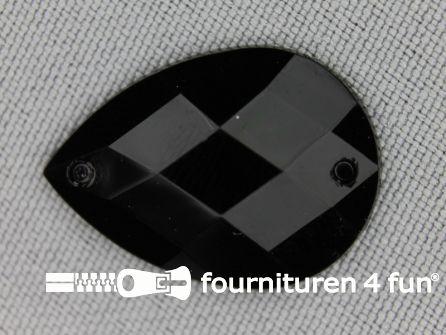 10 stuks Strass stenen druppel 18x25mm zwart