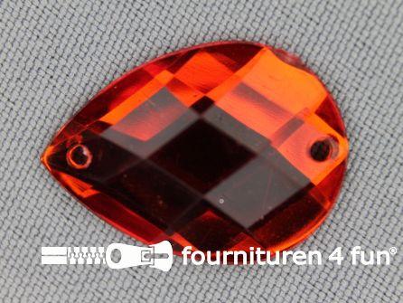 10 stuks Strass stenen druppel 18x25mm rood