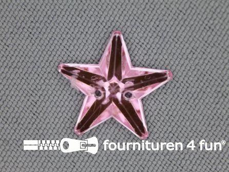 10 stuks Strass stenen ster 15mm licht roze
