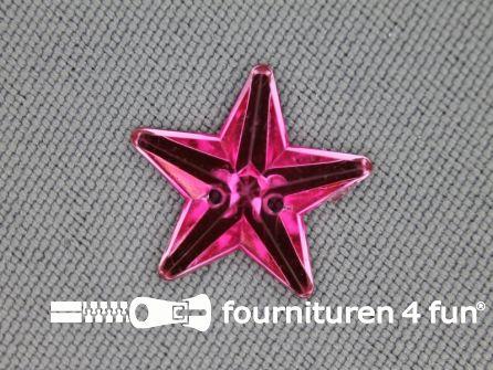 10 stuks Strass stenen ster 15mm fuchsia roze