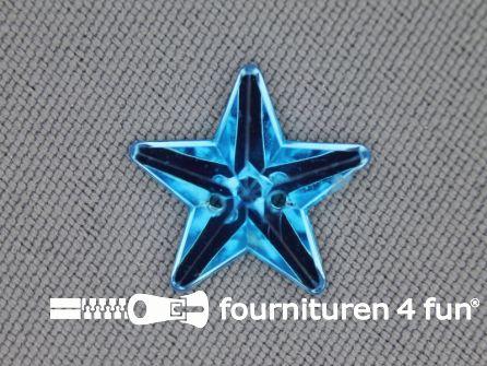 10 stuks Strass stenen ster 15mm aqua blauw