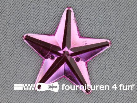 10 stuks Strass stenen ster 25mm fuchsia roze
