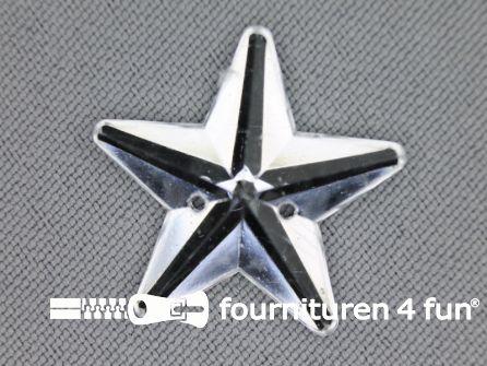 10 stuks Strass stenen ster 25mm zilver