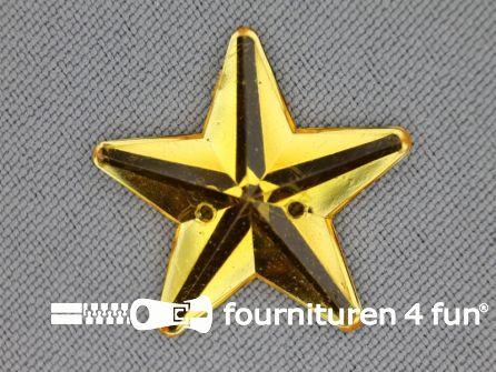 10 stuks Strass stenen ster 25mm goud geel