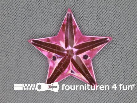 10 stuks Strass stenen ster 25mm licht roze