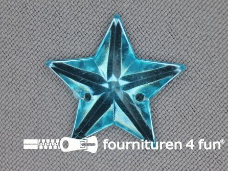 10 stuks Strass stenen ster 25mm aqua blauw