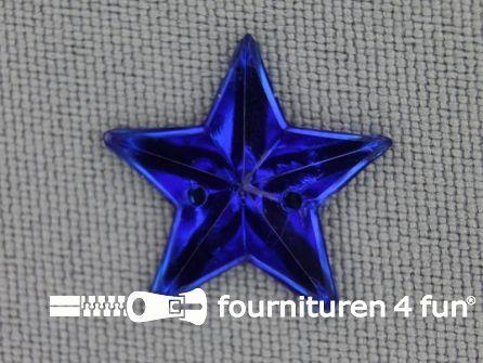 10 stuks Strass stenen ster 25mm kobalt blauw