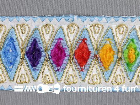 Jacquard band 60mm multicolor - aqua blauw