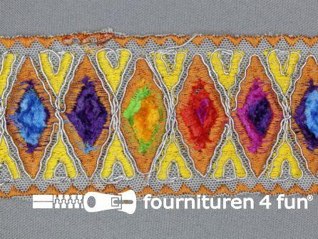 Jacquard band 55mm multicolor - oranje brique