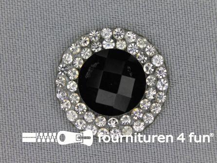 Strass steen opstrijkbaar rond 23mm zwart zilver
