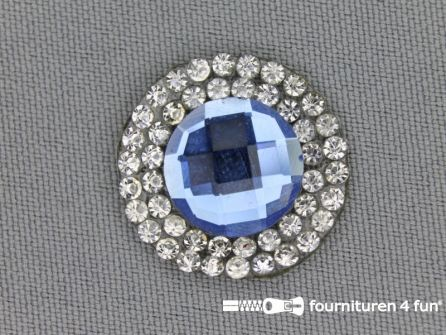 Strass steen opstrijkbaar rond 23mm aqua blauw zilver