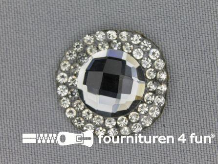 Strass steen opstrijkbaar rond 23mm licht zilver
