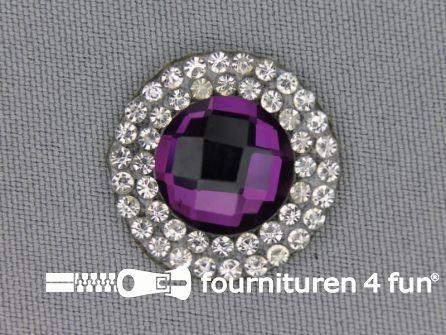 Strass steen opstrijkbaar rond 23mm paars zilver