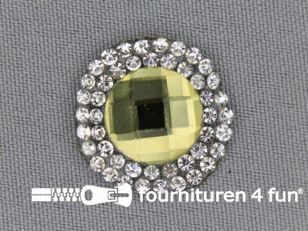 Strass steen opstrijkbaar rond 23mm goud zilver