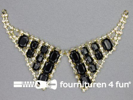Strass stenen decoratie 185x50mm goud zwart