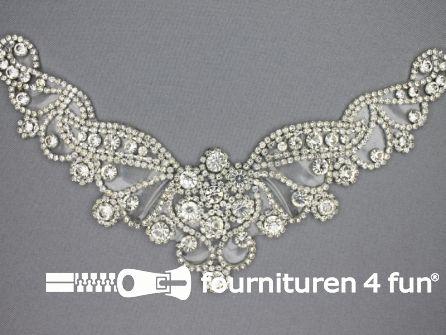 Strass decoratie opstrijkbaar 225x70mm zilver