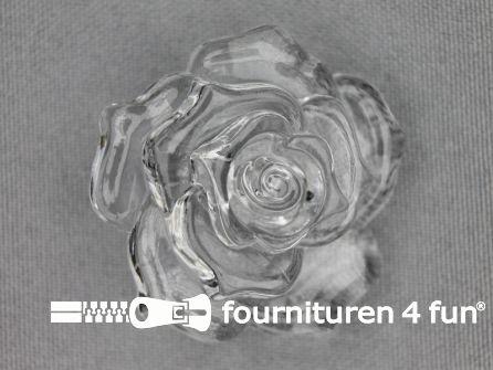 Bloemen knoop 40mm roos transparant