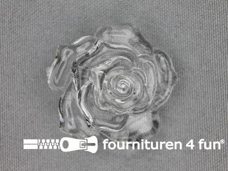 Bloemen knoop 35mm roos transparant