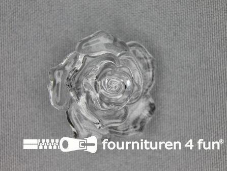 Bloemen knoop 30mm roos transparant