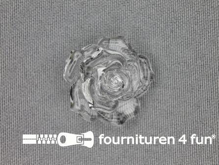 Bloemen knoop 25mm roos transparant