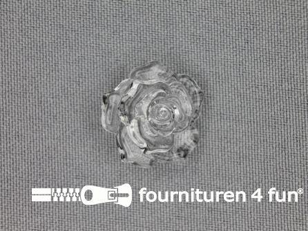 Bloemen knoop 21mm roos transparant