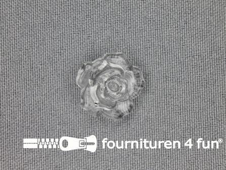 Bloemen knoop 18mm roos transparant