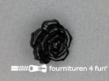Bloemen knoop 21mm roos zwart