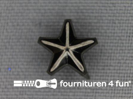 50 stuks Studs 10mm ster zwart zilver