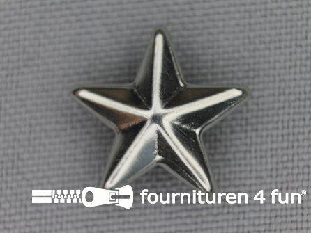 40 stuks Studs 15mm ster chroom zilver