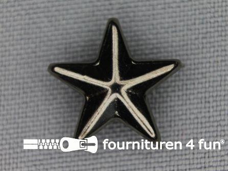 40 stuks Studs 15mm ster zwart zilver