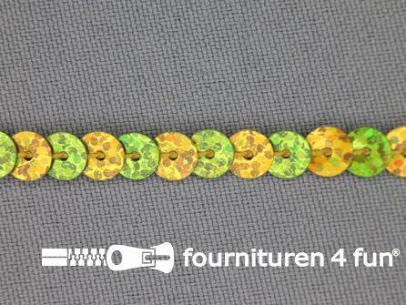 Pailletten band 6mm hologram goud - lime groen