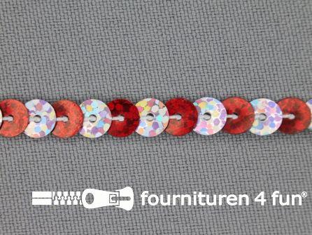 Pailletten band 6mm hologram zilver - rood
