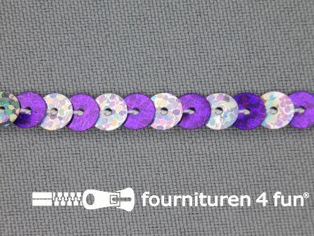 Pailletten band 6mm hologram zilver - paars