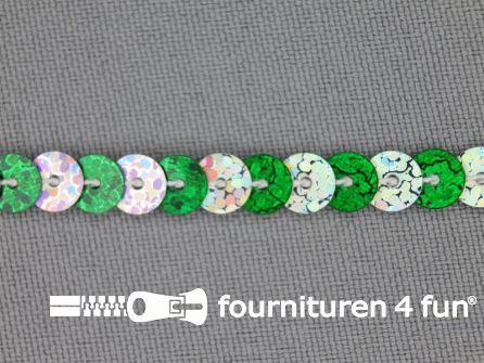 Pailletten band 6mm hologram zilver - groen